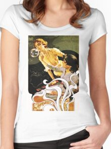 Italian Art Nouveau illustration of ladies blowing bubbles Women's Fitted Scoop T-Shirt