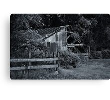 Old Barn with Fence Canvas Print