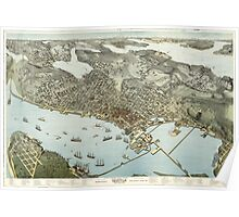 Panoramic Maps Birds-eye-view of Seattle and environs King County Wash 1891 Poster