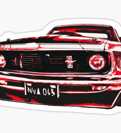 Red Ford Mustang illustration Sticker