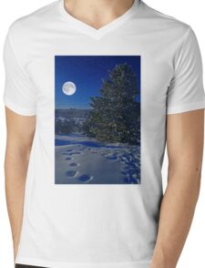 Moonlight night Mens V-Neck T-Shirt