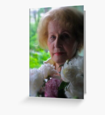 My Mother with Peony Flowers. by Andre Brown Sugar. featured in Beautiful and Lips.. Views: 67 Thx! Greeting Card