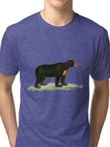 Brown Bear with long curly tongue Vintage Illustration Tri-blend T-Shirt