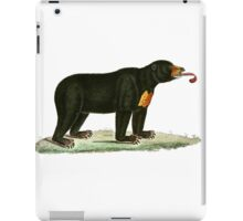 Brown Bear with long curly tongue Vintage Illustration iPad Case/Skin