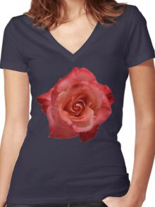 Ombré Red Garden Rose III - Hipster/Pretty/Trendy Flowers Women's Fitted V-Neck T-Shirt