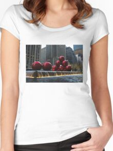 A Christmas Card from New York City - a 5th Avenue Fountain with Giant Red Balls Women's Fitted Scoop T-Shirt