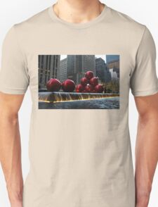 A Christmas Card from New York City - a 5th Avenue Fountain with Giant Red Balls T-Shirt