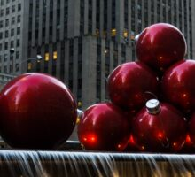 A Christmas Card from New York City - a 5th Avenue Fountain with Giant Red Balls Sticker