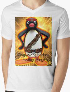 Pingu is one badass motherf*cker! Mens V-Neck T-Shirt