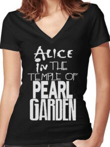""" Alice in The Temple Of Pearl Garden"" Women's Fitted V-Neck T-Shirt"