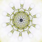 Yellow Black Art nouveau floral scroll-R019 by Heidivaught