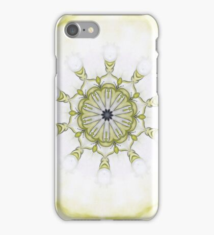 Yellow Black Art nouveau floral scroll-R019 iPhone Case/Skin