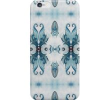 Blue Baroque Leaf Scroll-r100 iPhone Case/Skin