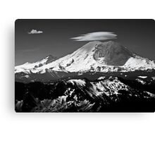 Rainier with clouds Canvas Print