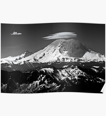 Rainier with clouds Poster