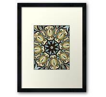 Baroque Blue Rosette- R007 Framed Print