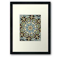 Blue Baroque Leaf Scroll-r0013 Framed Print