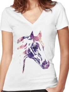 Galaxy Horse Women's Fitted V-Neck T-Shirt