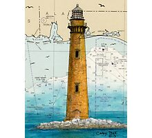 Sand Island Lighthouse AL Nautical Chart Peek Photographic Print