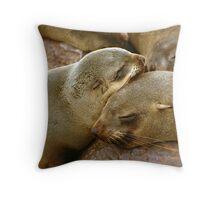 'Cuddling Cousins' - Cape Fur Seals  Throw Pillow