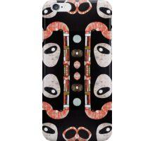 Black white orange lime retro atomic repeat pattern iPhone Case/Skin