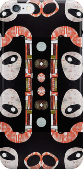 Black white orange lime retro atomic repeat pattern by bearoberts