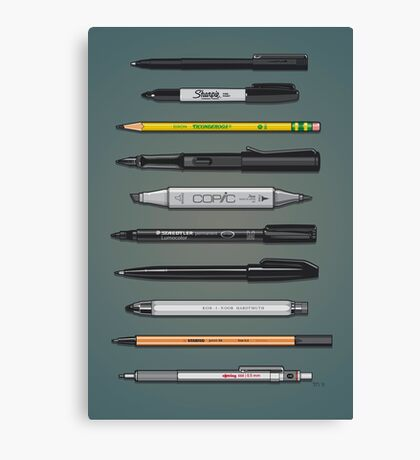 Pen Collection For Sketching And Drawing (Plain) Canvas Print