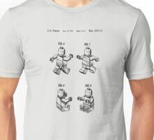 Lego Patent Toy Figure 02 Sheet 2 Of 2 In Black Version Unisex T-Shirt