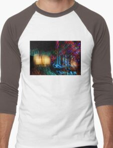Abstract Christmas Lights - Color Twists and Swirls  Men's Baseball ¾ T-Shirt