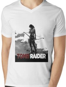Tomb Raider Grey Mens V-Neck T-Shirt