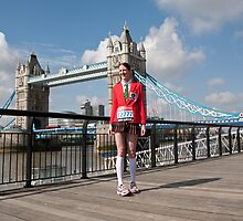 Amy Tarner at Tower Bridge ahead of the London Marathon 2012 by Keith Larby