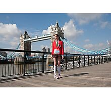 Amy Tarner at Tower Bridge ahead of the London Marathon 2012 Photographic Print