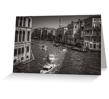 Looking North on the Grand Canal - B&W Greeting Card