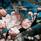 apple blossom birthday greeting card artistic by Moonlake