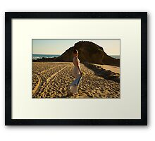 Beach bride Framed Print