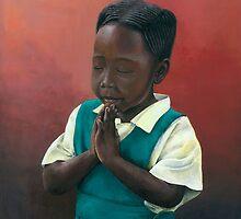 African girl praying by Michael Johnston
