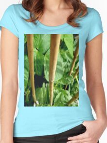 GROW - ART PRINT ON CLOTHING ADULT / KIDS - THIS IS OUR BEAN PLANT 'GROWN ON CONCRETE' Women's Fitted Scoop T-Shirt
