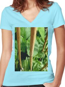 GROW - ART PRINT ON CLOTHING ADULT / KIDS - THIS IS OUR BEAN PLANT 'GROWN ON CONCRETE' Women's Fitted V-Neck T-Shirt