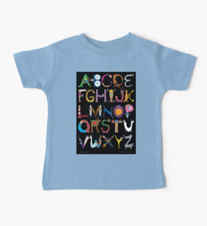 Children's Alphabet (black background) Baby Tee