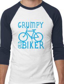 Grumpy old Biker with cycle riding bike bicycle Men's Baseball ¾ T-Shirt