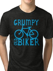 Grumpy old Biker with cycle riding bike bicycle Tri-blend T-Shirt