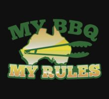 MY BBQ (barbecue) MY RULES Aussie Australian flag and tongs One Piece - Short Sleeve