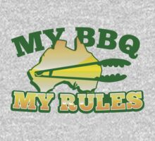 MY BBQ (barbecue) MY RULES Aussie Australian flag and tongs One Piece - Long Sleeve