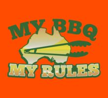 MY BBQ (barbecue) MY RULES Aussie Australian flag and tongs Kids Tee