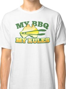 MY BBQ (barbecue) MY RULES Aussie Australian flag and tongs Classic T-Shirt