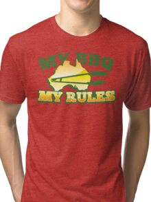 MY BBQ (barbecue) MY RULES Aussie Australian flag and tongs Tri-blend T-Shirt