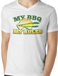 MY BBQ (barbecue) MY RULES Aussie Australian flag and tongs Mens V-Neck T-Shirt