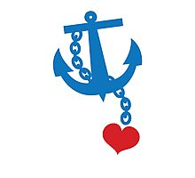 NAVY blue anchor with a love heart Photographic Print