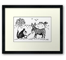 Puss and donkey Framed Print