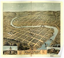 Panoramic Maps Bird's eye view of the city of Frankfort the capital of Kentucky 1871 Poster